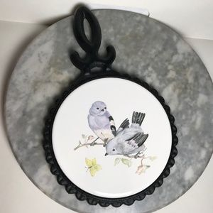 Vintage Cast Iron Bird Ceramic Trivet Wall Art